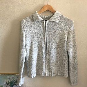 90s vintage front zipper heather grey jacket